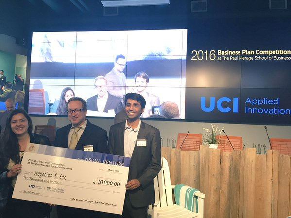 Congratulations to Negocios & Etc for winning the Blum Center award at the 2016 Paul Merage School of Business – Business Plan Competition! To learn more, read on at: http://blumcenter.uci.edu/2016/05/19/blum-helps-sponsor-2016-business-plan-competition/